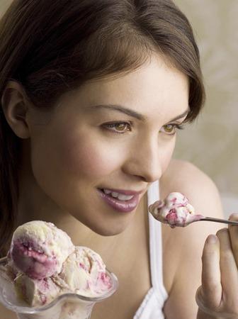 eating ice cream: Woman eating ice cream