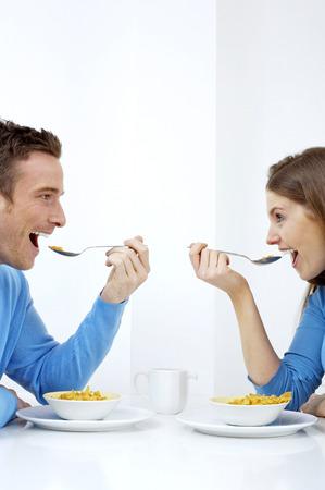he she: Couple having breakfast together