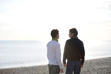 Two men at the beach photo