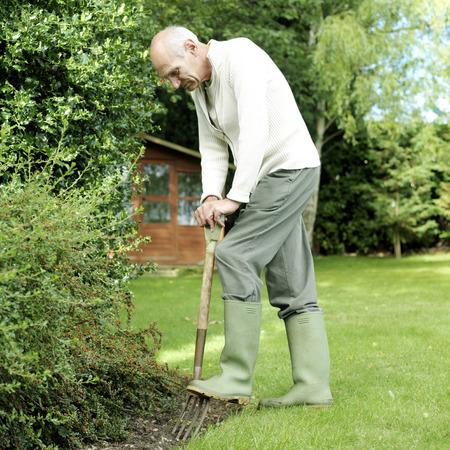 Senior man doing yard work