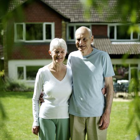 Senior couple posing for the camera photo