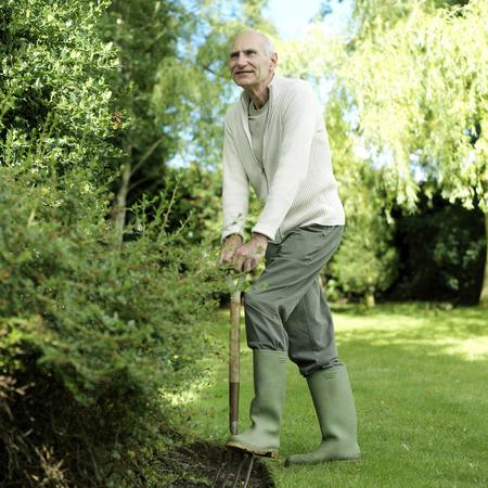 Senior man doing yard work Stock Photo - 26257263
