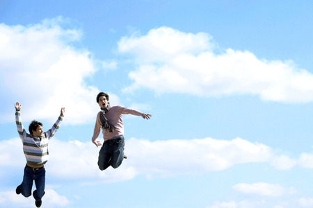 Two men in the air photo