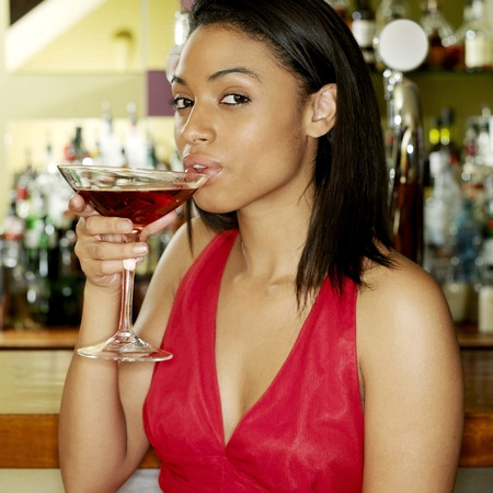 Woman spending leisure time in a pub photo