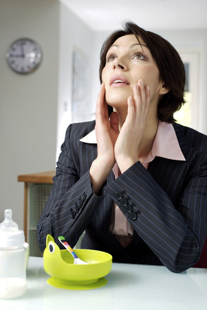 Working parent suffering from emotional stress photo