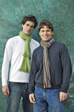 Two men posing for a photograph photo
