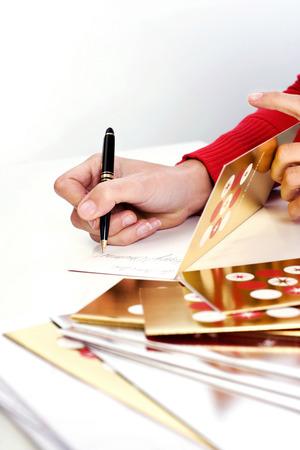 Writing a greeting card