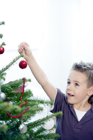 A boy decorating the Christmas tree photo
