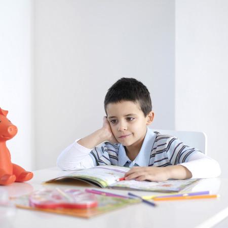 free thought: Boy doing homework