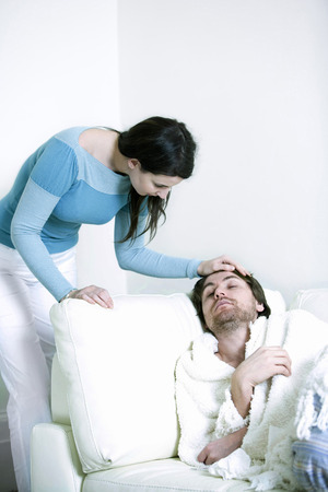 A woman caring for her ill boyfriend photo