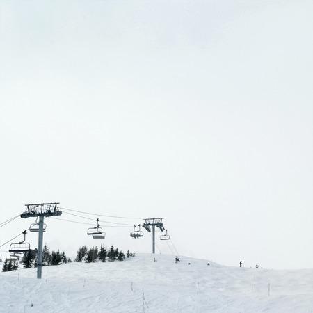chair lift: Chair lift at ski resort Stock Photo