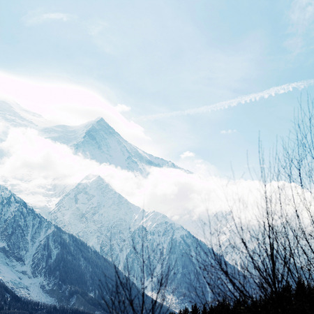 Snow-covered mountain landscape 写真素材