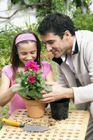 Man and girl planting flower into a pot photo
