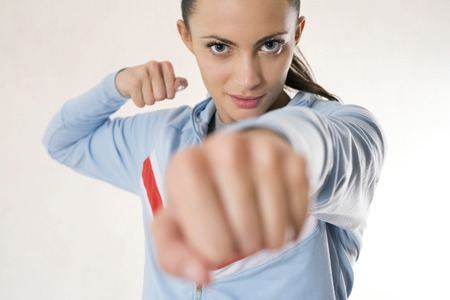 Woman showing her fist
