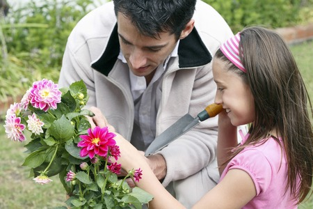 Man and girl planting flowers photo