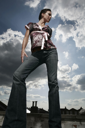 low blouse: Woman posing for the camera Stock Photo