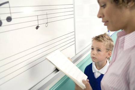 Woman teaching boy how to read music notes