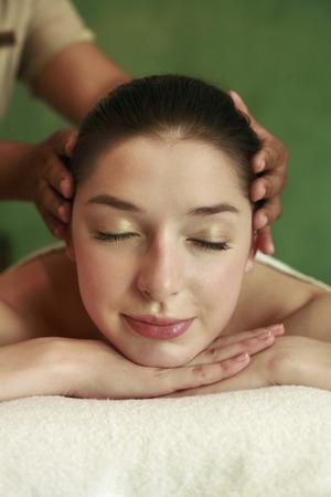 Woman enjoying a head massage