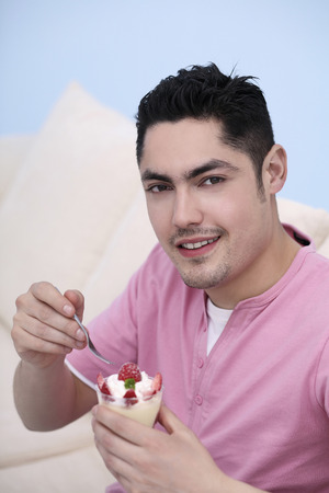 Man enjoying his dessert photo