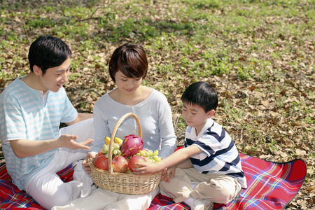 Boy and parents having a picnic in the park photo