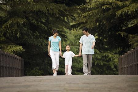 h�ndchen halten: M�dchen H�ndchen haltend mit Eltern, w�hrend im Park spazieren