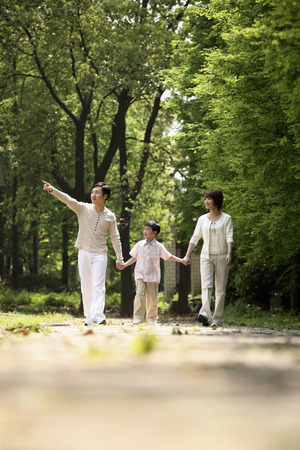 Boy holding hands with parents while walking in the park Stock Photo