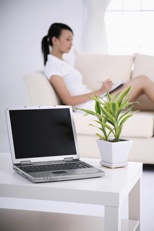 Laptop beside potted plant, woman writing diary in the background photo