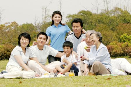Een grote familie picknicken in het park Stockfoto - 26382141