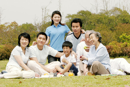A big family picnicking in the park