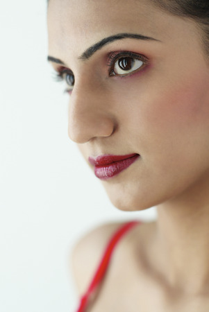 inner wear: Close-up picture of a ladys face with makeup Stock Photo