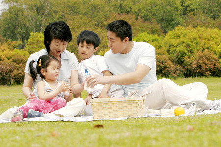 asian trees: A family picnicking in the park