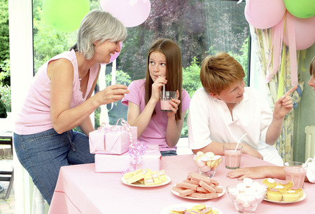 he   my sister: A girl celebrating her birthday Stock Photo