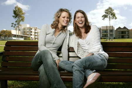 housemate: Two friends having laughters in the garden