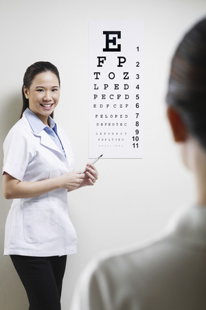 Female doctor testing her patients eyesight photo