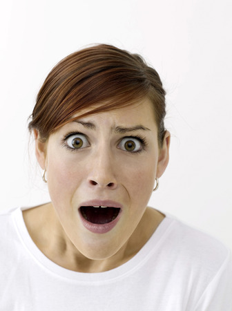 appalling: A terrified woman Stock Photo