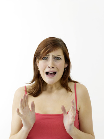 confound: Worried woman Stock Photo