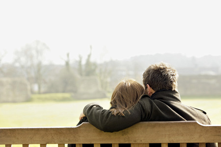 Couple relaxing at the park Stock Photo