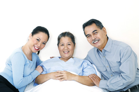 taking a wife: Patient with her family Stock Photo