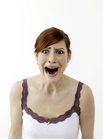 zatrważający: Przerażona kobieta Zdjęcie Seryjne