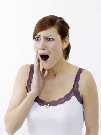 zatrważający: Woman in shock Zdjęcie Seryjne
