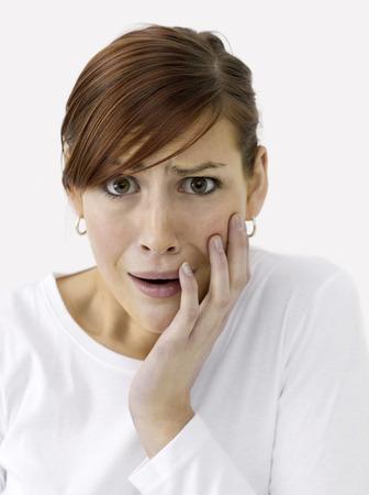 zatrważający: Poczucie kobieta boi Zdjęcie Seryjne
