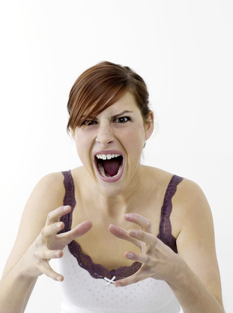 gritting: Angry woman Stock Photo