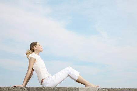eyes closing: Woman closing her eyes, relaxing