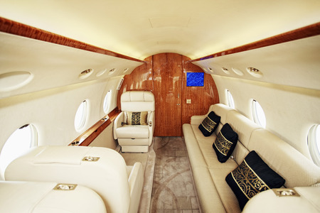 Luxurious leather seat on private airplane