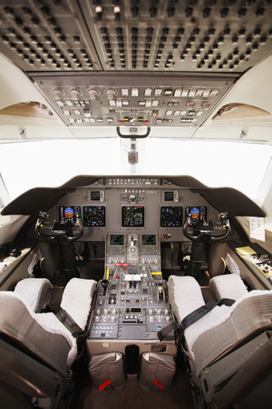 Cockpit of a private airplane