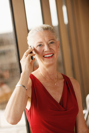 airport lounge: Businesswoman talking on the phone in airport lounge Stock Photo