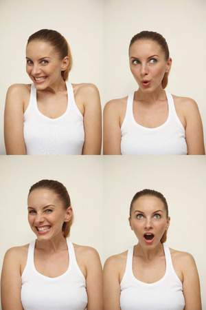 Woman with various facial expressions photo