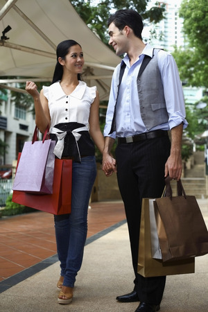 western european ethnicity: Man and woman with shopping bags