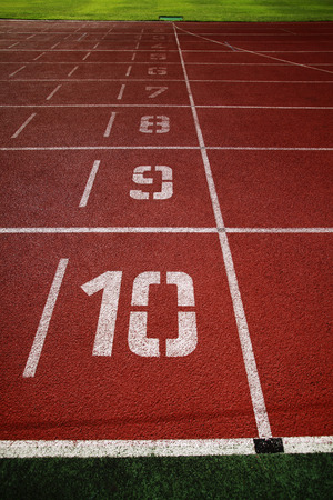 running track: Painted numbers on running track