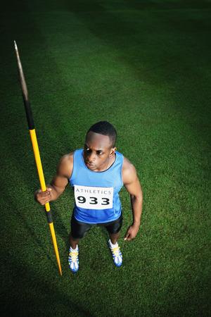 javelin: Male athlete holding javelin